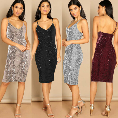 Stylish Elegant Women Silver Black Sling Sequined V-neck Backless Sleeveless Highwaist Dress Lady Formal Ball Party Dress S-XXL