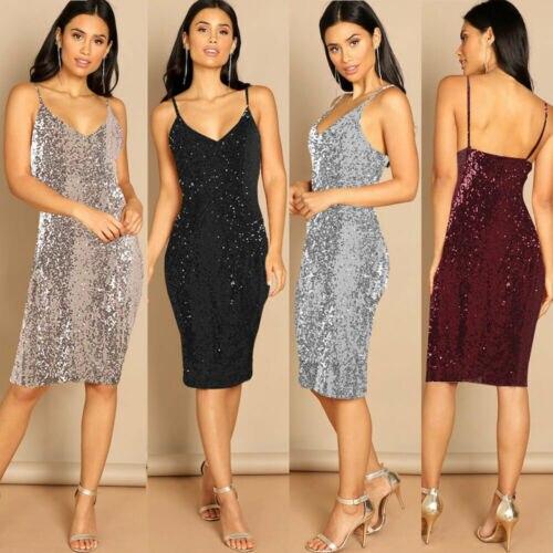 Stylish Elegant Women Silver Black Sling Sequined V-neck Backless Sleeveless Highwaist Dress Lady Formal Ball Party Dress S-XXL