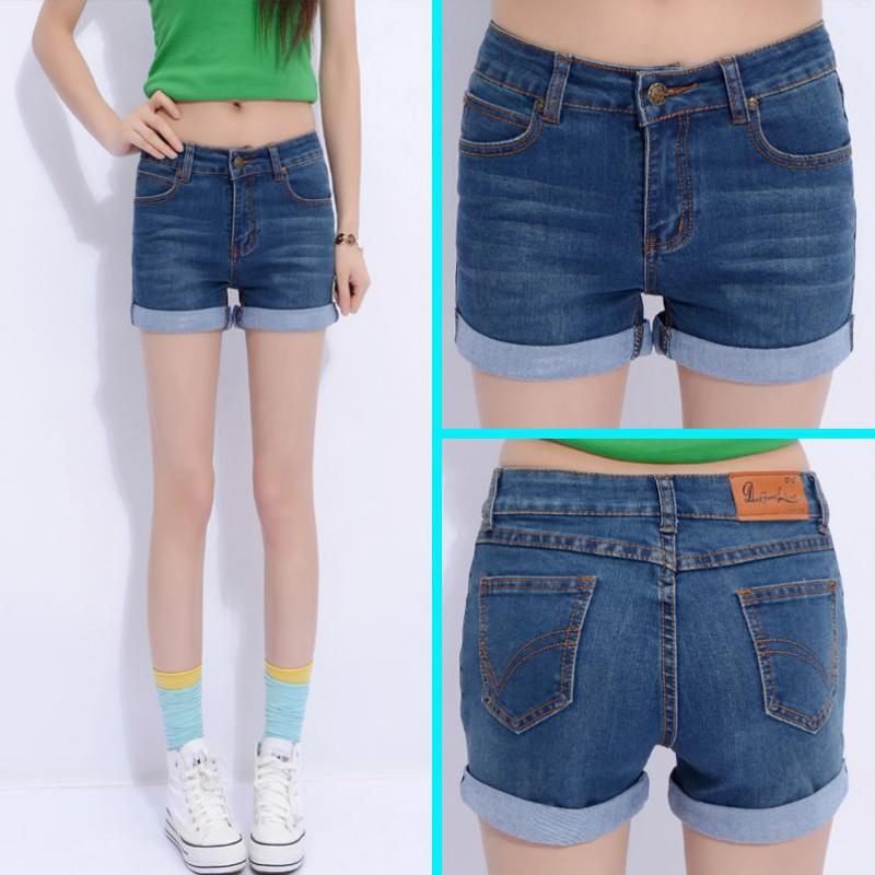 2017 summer style women's breathable slim denim shorts extra large size(26-40) elastic roll-up shorts women casual jeans