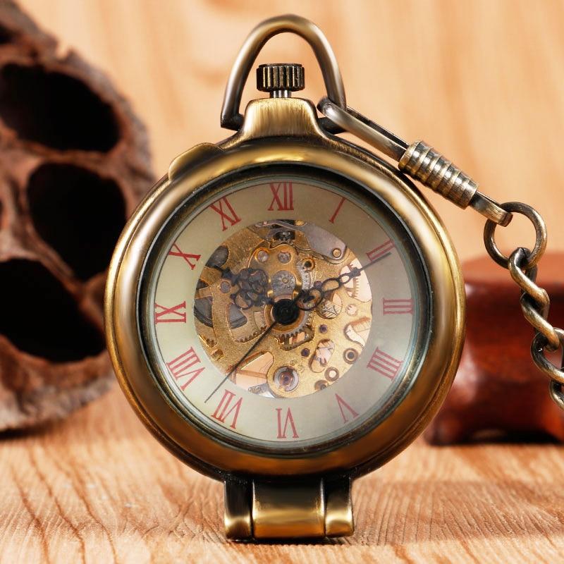 Unique Stand Mechanical Pocket Watch Retro Fob Chain Hand Wind Transparent Glass Cover Bronze Skeleton Vintage Men Women Gift