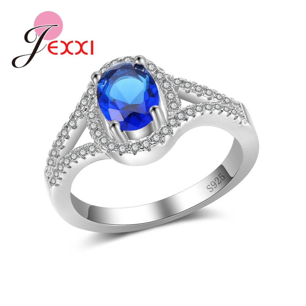 JEXXI Four Color Crystal Cubic Zirconia Finger Rings For Women Ladies Fine 925 Sterling Silver Jewelry Present For Women Ladies