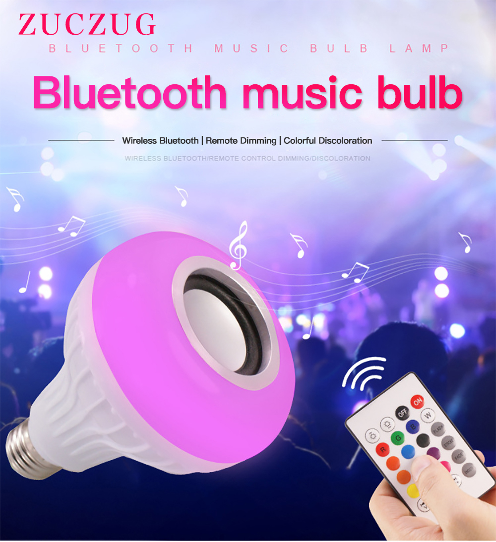 E27 Smart RGB RGBW Wireless Bluetooth Speaker Bulb Music Playing Dimmable LED Bulb Light Lamp with 24 Keys Remote Controller