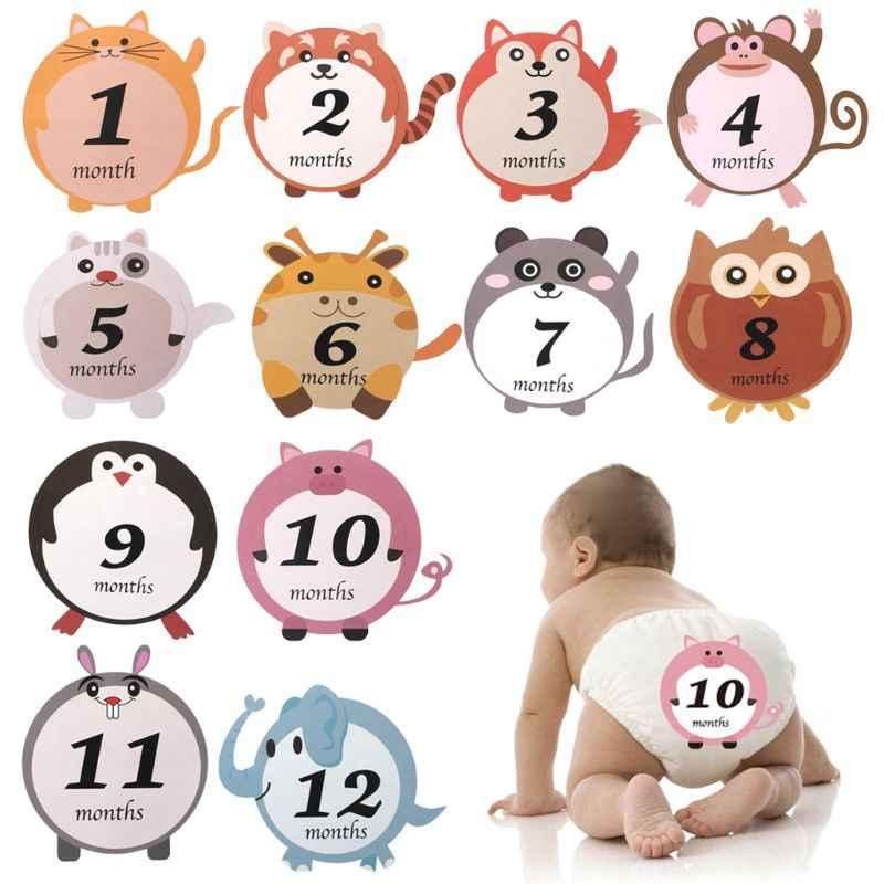12 шт./компл. месяц стикер для беременных ежемесячные фотографии милые животные наклейки
