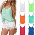 2015 Summer Women New Fashion Loose Chiffon Tank Tops Casual All-Match Crop Tops Camisole camis Vest 7 Colors plus size S-XXXL