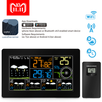 PROTMEX Color Wireless WiFi Smart Weather Station, Color Display Alarm Clock with Temperature Alerts, Indoor Outdoor Temperature