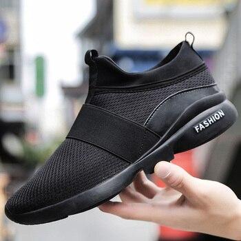 b5c2f5cf Модные весенне-осенние мужские кроссовки из сетчатого материала; Новинка  2019 года; дышащие легкие мужские повседневные туфли; повседневная .