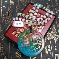 Send A level national certificate Natural colorful jade carving multi color blessing sea boat pendant Three color pendant chain