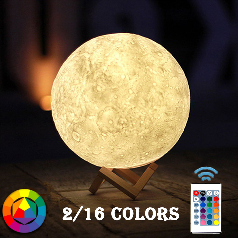 16 Colors 3D Print Moon Lamp Led Night light Rechargeable Touch Remote Switch Bedroom Bookcase Decor Lighting Kids Night Lights magnetic floating levitation 3d print moon lamp led night light 2 color auto change moon light home decor creative birthday gift