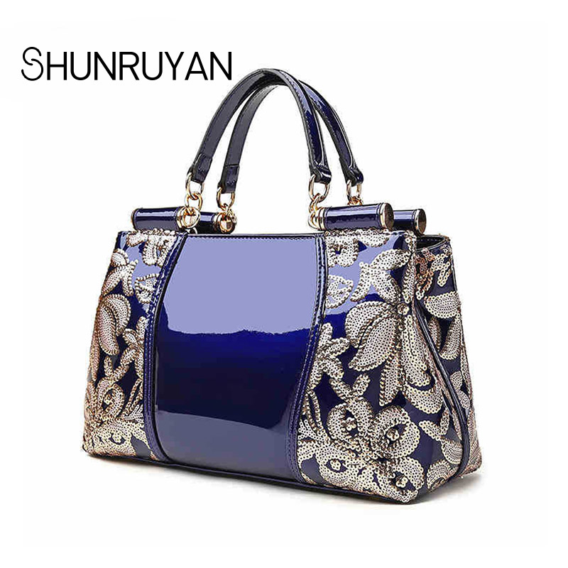 4240c1551d9e0 silber Kuh gelb burgunder Mode Shunruyan Handtaschen Geprägt 2018 rot Blau  Blumen Schwarzes Damen Leder Handtasche ...