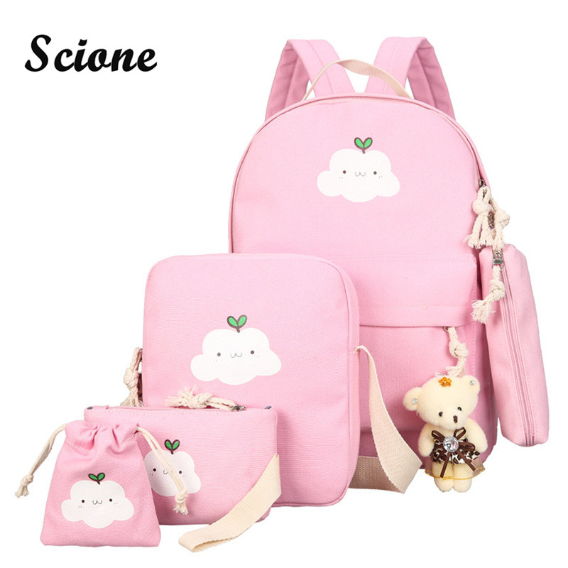 Scione Cute Printing Women Backpack Set Canvas Preppy School Bags for Teenage Girls Laptop Bagpack Women