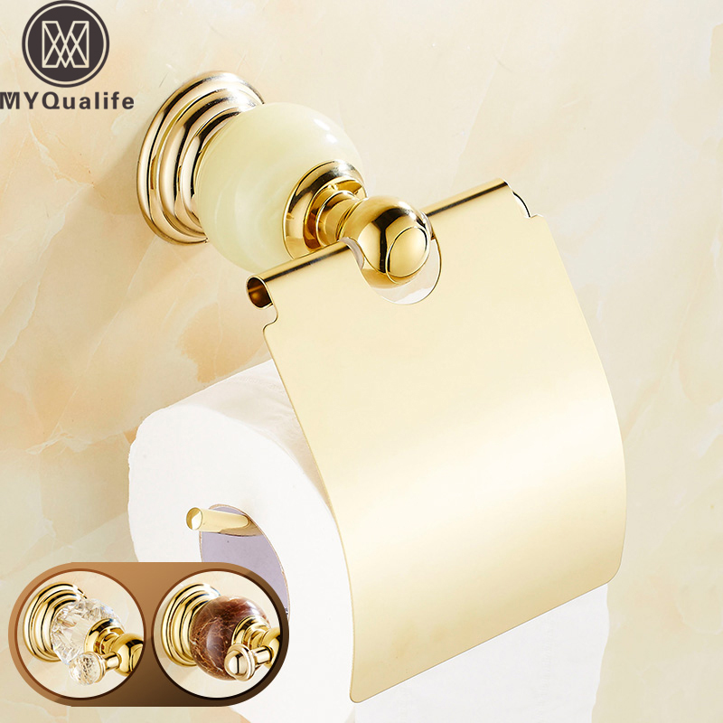 Crystal and Jade Golden Luxury Paper Tissue Holder Wall Mounted Roll Paper Toilet Tissue Rack with Cover wholesale and retail luxury polished golden bathroom toilet paper holder tissue box wall mounted dual paper boxes