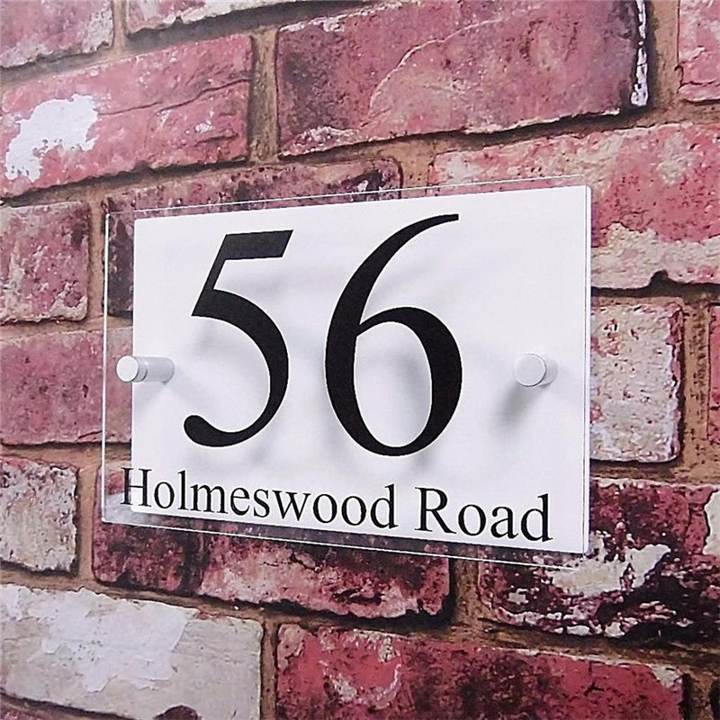 цена Customized Double Layer Transparent Acrylic House Number Plaques Sign Plates House Signs with Vinyl Stickers Films в интернет-магазинах