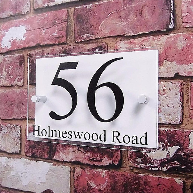 6f32cb0040c1 Customized Double Layer Transparent Acrylic House Number Plaques Sign Plates  House Signs with Vinyl Stickers Films