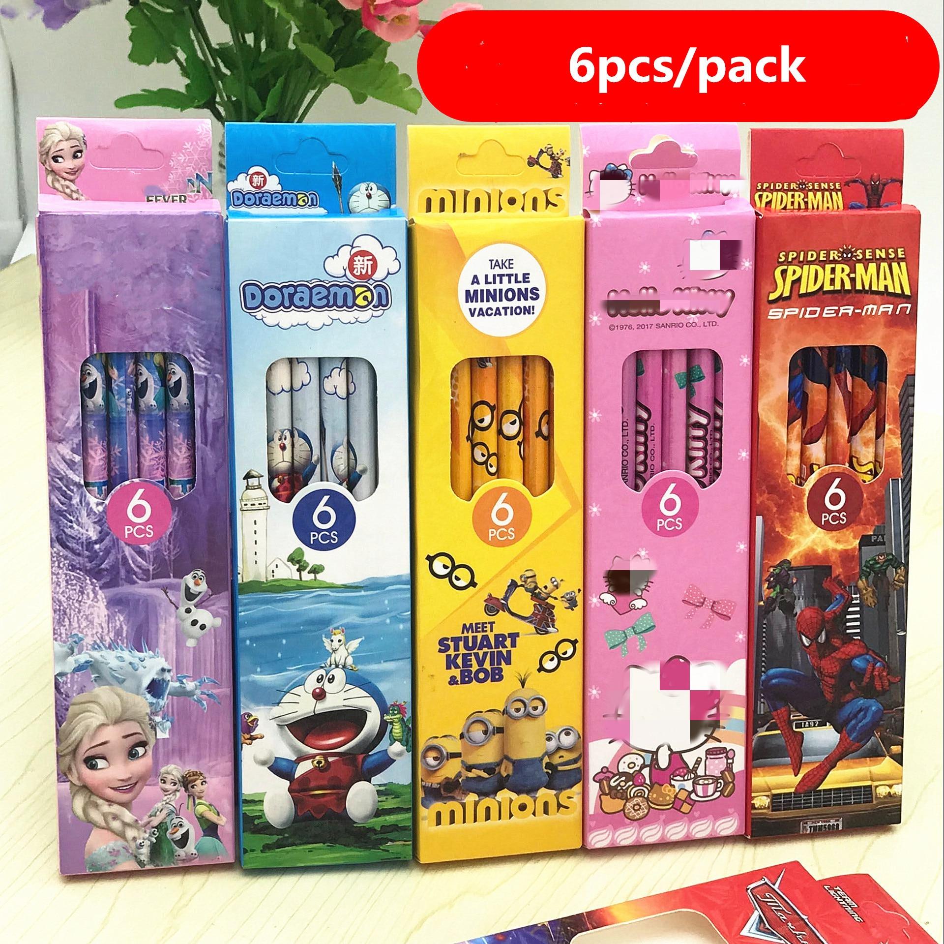 6pcs/pack Kawaii Cartoon Minions Micky HB Wood Pencils For Kids HB Sketch Pencil Children's Study School Stationery Supplies