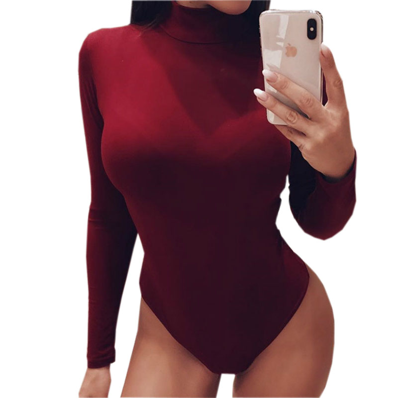 Fitness Jumpsuit Skinny Party Club Rompers Sexy Bodysuit 2019 Fashion Turtleneck Solid Women Bodysuits Bodycon Body Tops M0386