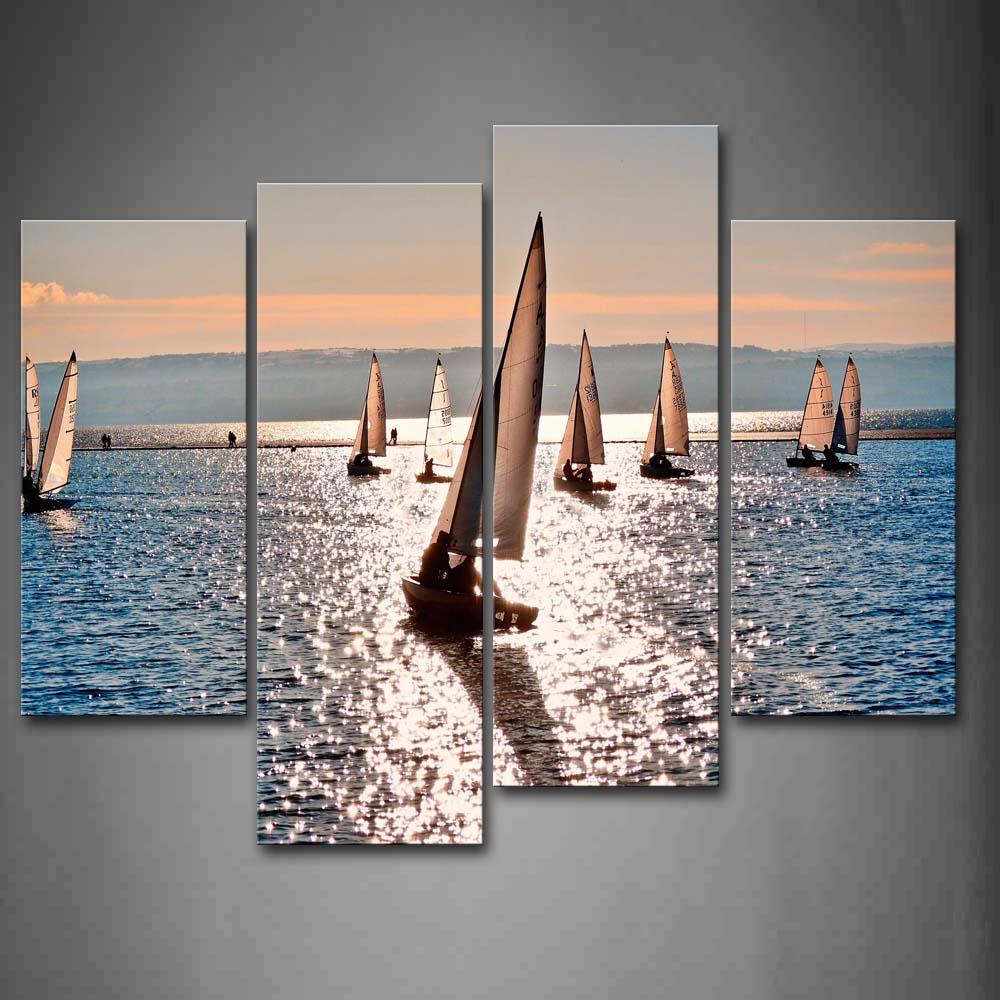 4 панели рисунок на стену без рамки картины парусники вода холст печать современные постеры с машинами без рамки для декора гостиной