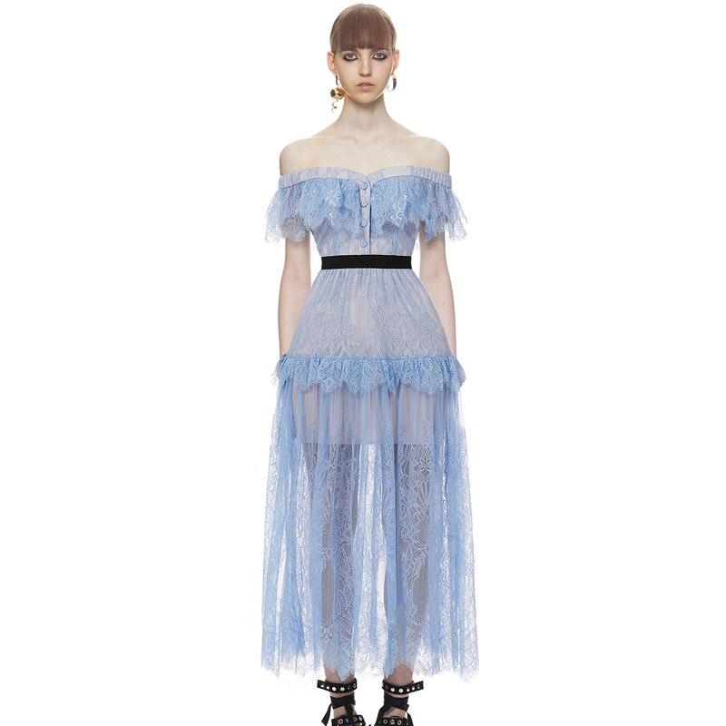 Us 350 50 Offself Portrait Dress New 2017 Ladies Summer Dress Blue Violet Lace Crochet Dress Hollow Out V Neck Strapless Elegant Long Dress In
