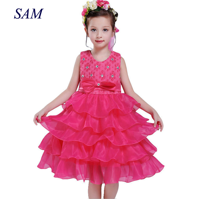 Girl Dress Princess Christmas Lace Kids Christening Events Party Wear Dresses For Girls Children Baby Red Clothes 1