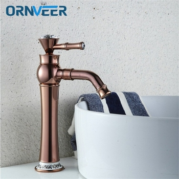 Free Shipping Luxury Tall Rose Gold Bathroom Faucet Gold Plated Decorated With Diamond Brass Basin Sink Mixer Tap RG-017