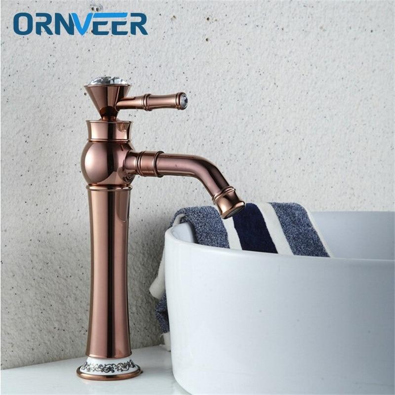 Livraison gratuite de luxe grand or Rose robinet de salle de bain plaqué or décoré avec diamant en laiton lavabo mitigeur RG-017