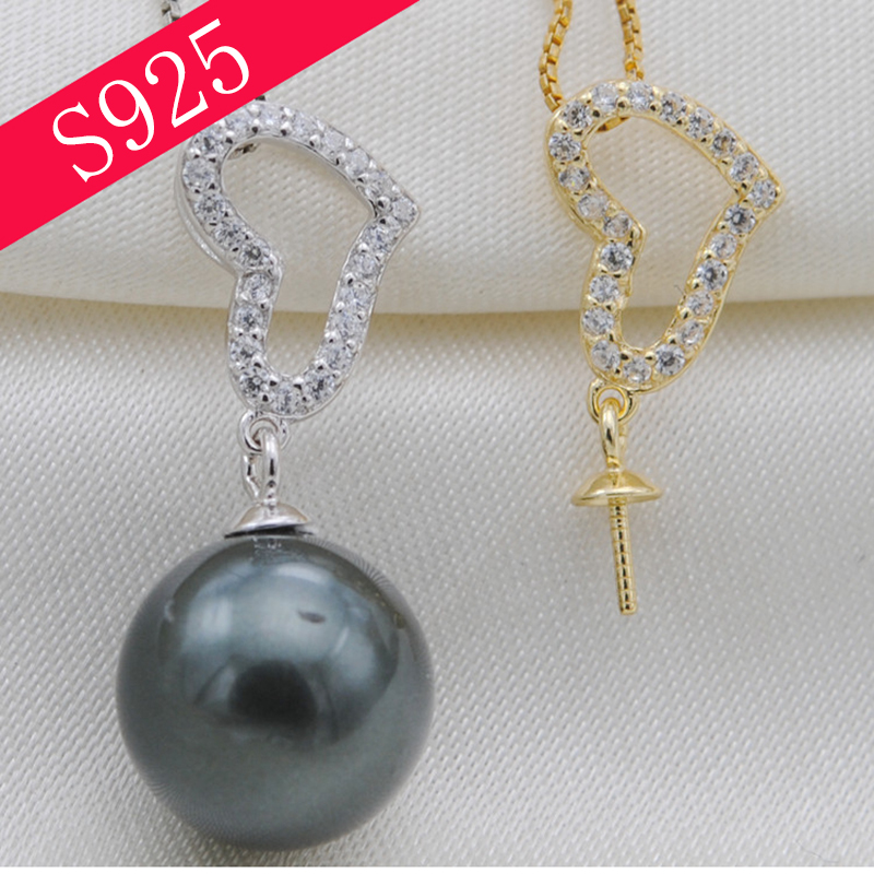 Love Heart Gorgeous Full Inlaid Rhinestones Pendant Woman Pearl Necklace Pendant DIY Accessories No Bead Mother's Day Gift