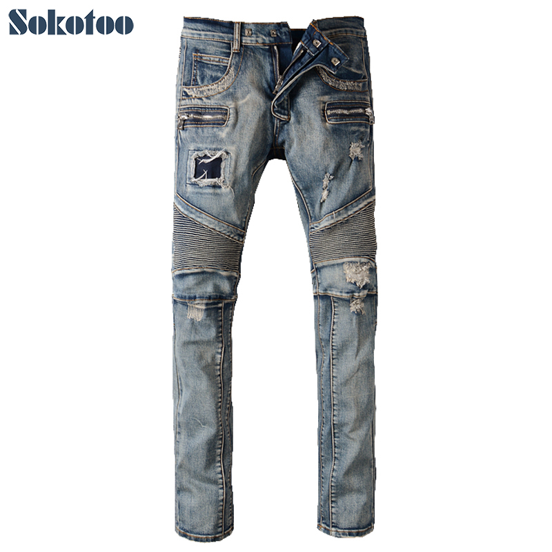 Sokotoo Men's fashion vintage zipper patch hole ripped biker jeans Slim straight stretch denim pants Long trousers