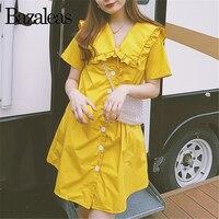 Bazaleas Vintage Chic Center Buttons Ruffles women dresses Yellow Sailor Collar women dress Lolita cotton vestido drop shipping