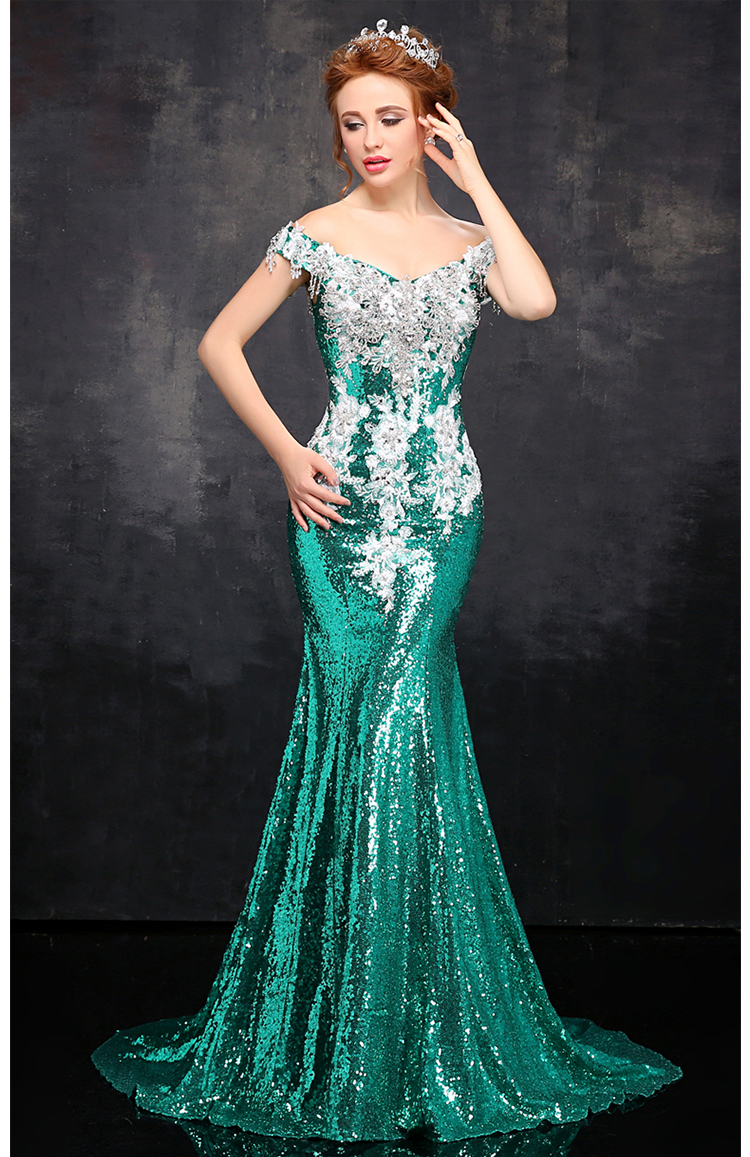 shinning sequin mermaid evening dress 2017 party dresses robe de ...