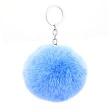 8CM Fluffy Faux Rex Rabbit Fur Ball Pom Pom Keychain Women Bag Charms Man Trinket Keyring Hare Toy Key Chain Wedding Party Gift цена