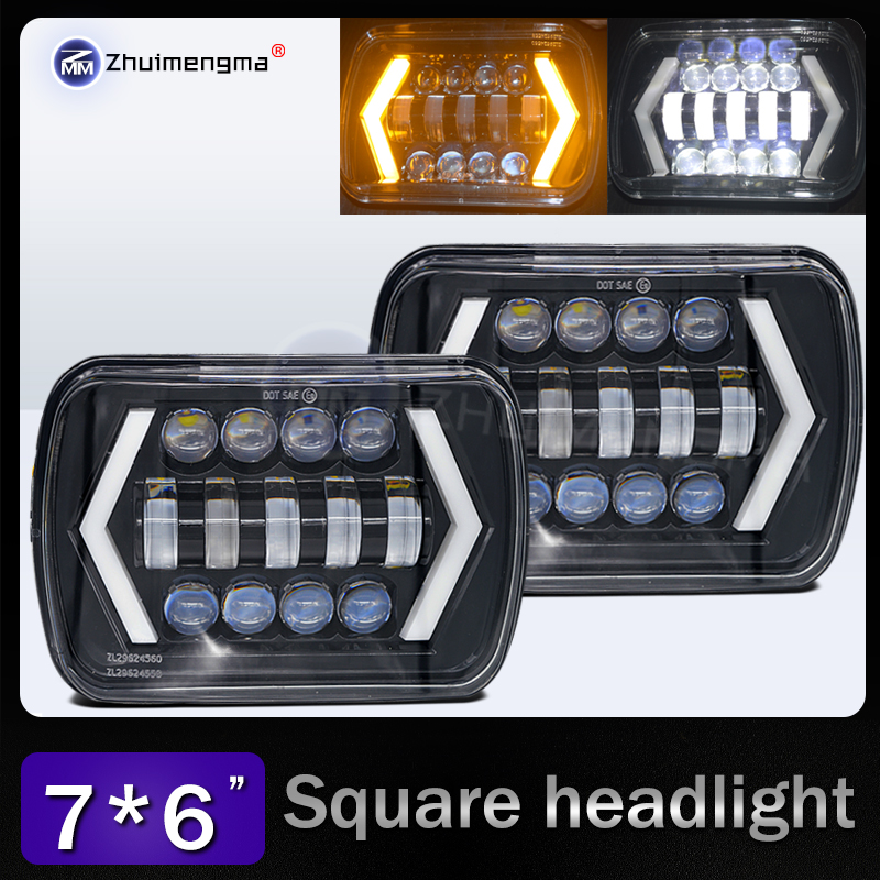 2PCS 7x6 LED Headlights H4 Light for Jeep Wrangler YJ Cherokee Comanche 5x7 Led Square Headlights Led working light 7inch for jeep led headlight 5x7 headlight type led driving light 24v car led headlights 7x6 led headlamp light 5 7inch h4 h l