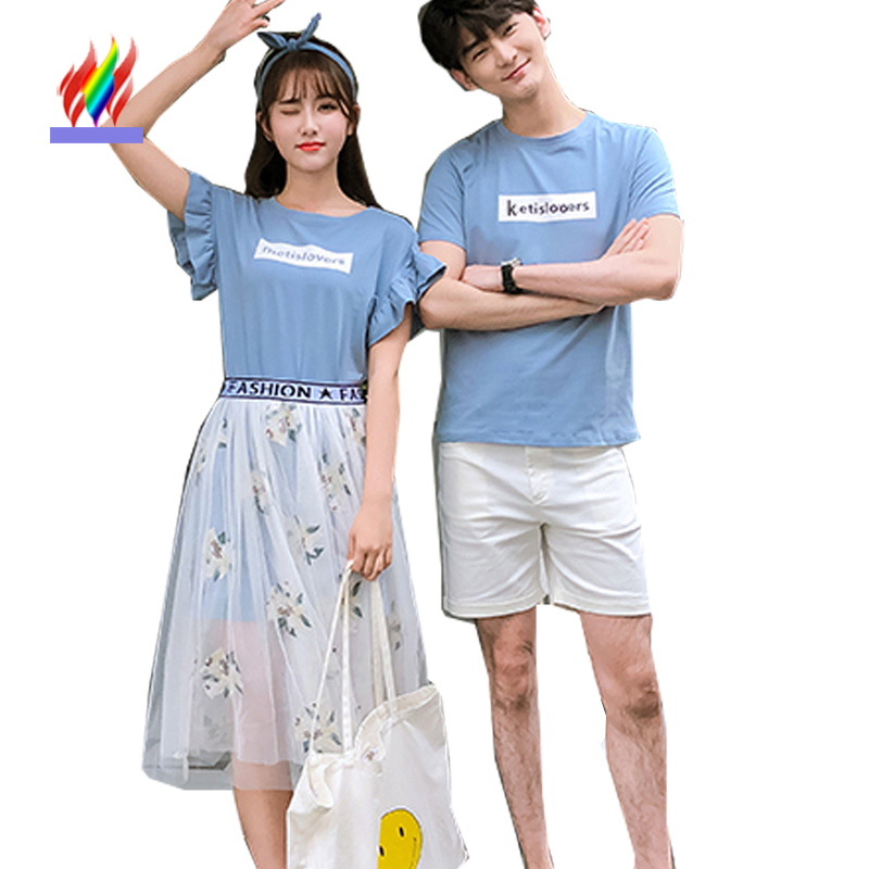 Matching Couple Clothes Lovers Japan Korea Preppy Style Summer Girls Cute Sweet A Line Blue Letter Printed Two Piece Dress 272 remote control charging helicopter