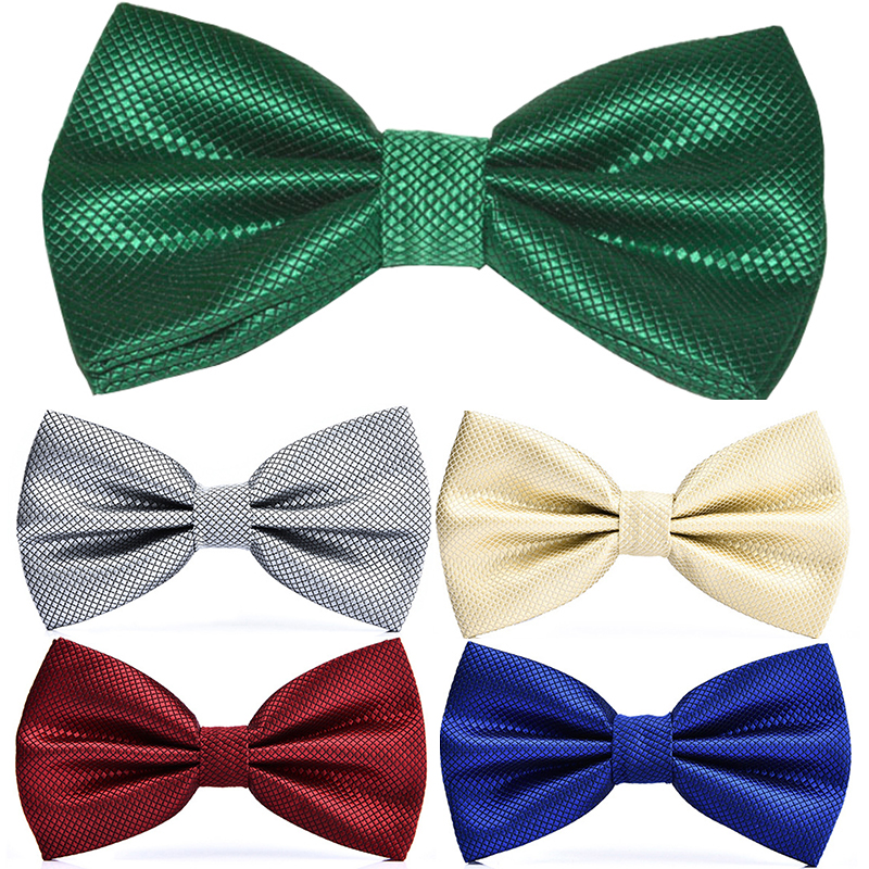 RBOCOTT 23 Colors Solid Fashion Bow Tie Men's Plaid Bowties Red Blue Green Silvery Gray For Men Women Wedding Accessories