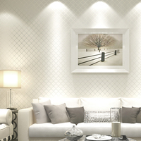 Non Woven Fabric Lattice Stripe Wallpaper White Foam Embossed Wall Covering Wall Paper Roll Background Wall