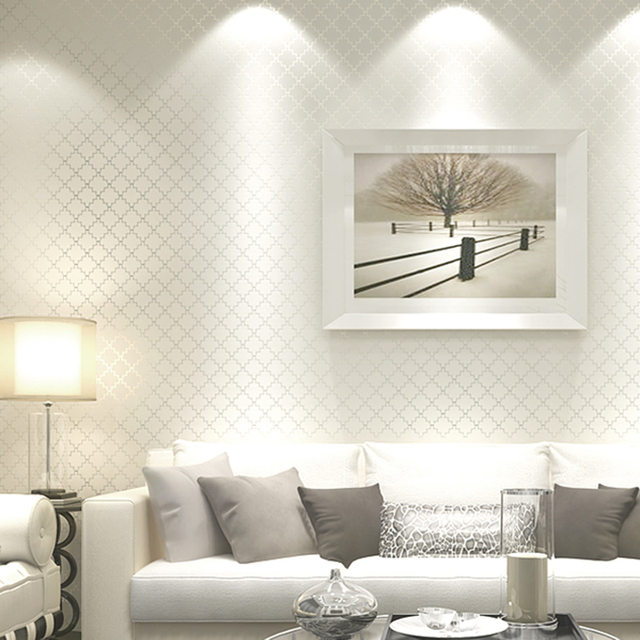 Non Woven Fabric Lattice Stripe Wallpaper White Foam Embossed Wall Covering  Wall Paper Roll Background