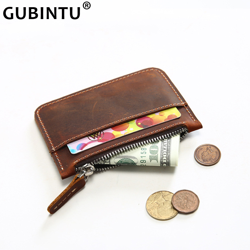 Retro First Layer Leather Thin Coin Wallet Purse Leather Handmade Original Change Purse Driving License Mini Men's Short Wallet