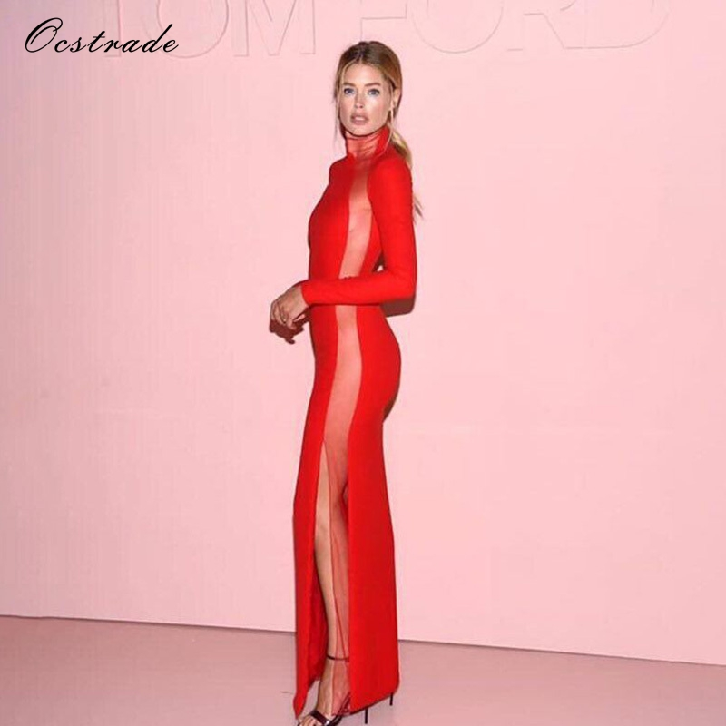 Ocstrade 2017 Black Friday Sale Side Mesh High Slit Elegant Evening Party Gown Long Sleeve Red Bandage Dress Celebrity Dresses