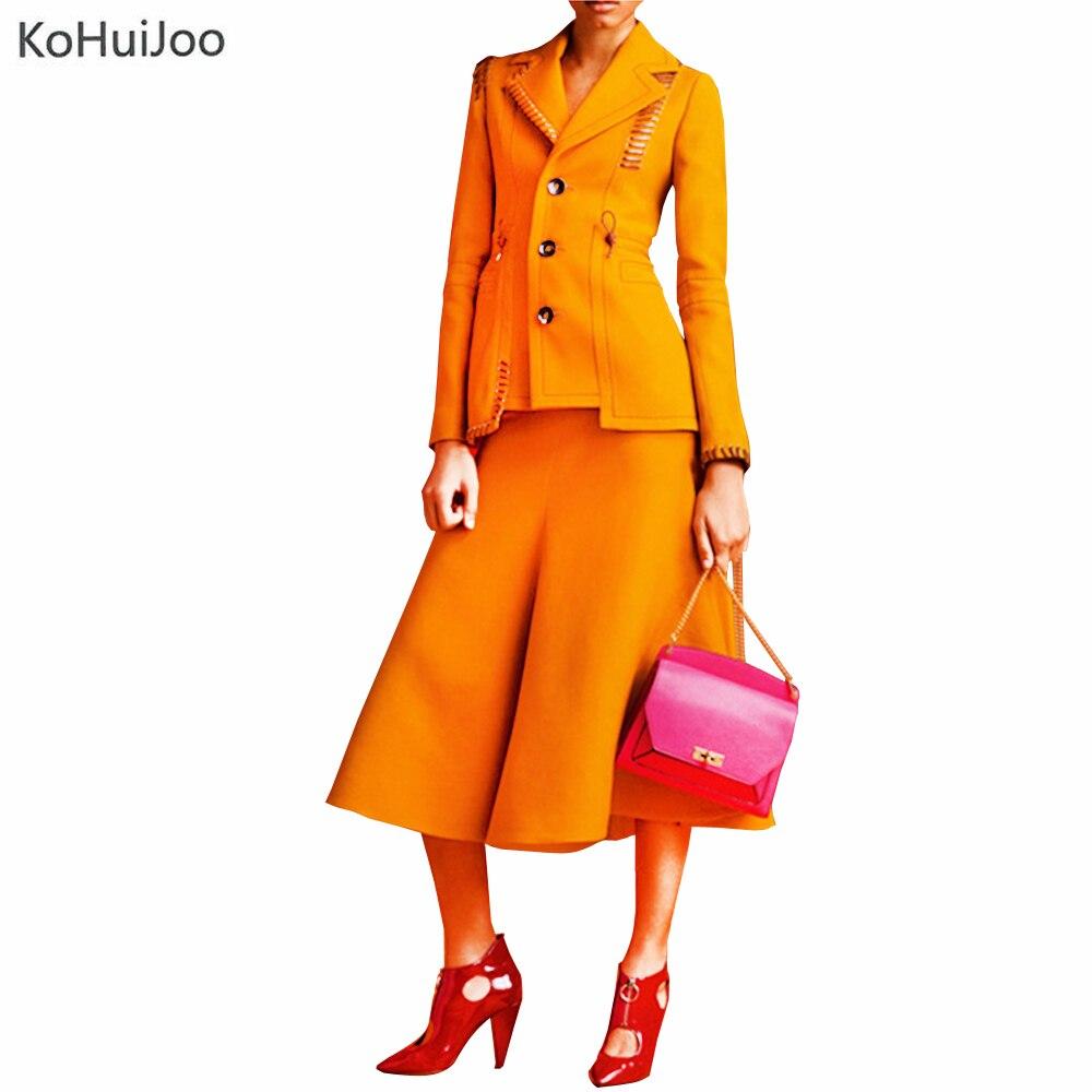 Zipper Jupe Solide Et Jusqu'à Kohuijoo Piste Cheville Mode Blazer Pièces Jaune Haute Dentelle 2019 Automne Deux Costume Nouveau Ensemble Qualité Longueur Ensembles Pqz87ZwP