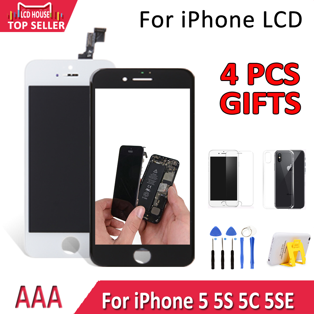 2019 Grade AAA LCD For <font><b>iPhone</b></font> <font><b>5</b></font> 5S 5C 5SE LCD Screen Touch Digitizer Assembly Replacement Pantalla No Dead Pixel <font><b>Ecran</b></font> with Case image