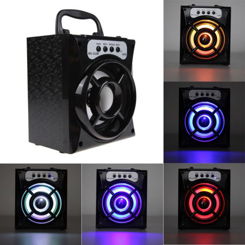 DOITOP High Power Speaker Support TF Card LED Bluetooth Wireless Stereo Subwoofer Outdoor Speaker 3D Surround Radio Loudspeaker