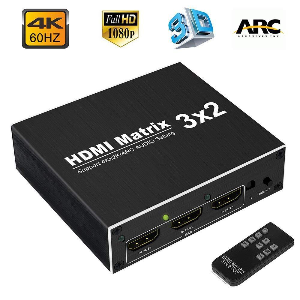 Сплиттер 4K HDMI 60 Гц Ultra HD 3X2 матричный коммутатор переключатель R/L + ARC 3 порта s входы 2 порта выходы с ИК-пультом HDCP1.4