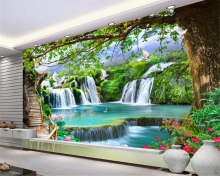 beibehang Simple personality silky three-dimensional wallpaper green tree forest waterfall landscape tooling background behang