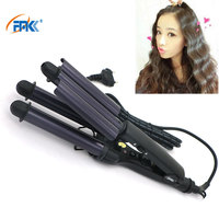 FMK 110 220V Splint 3 Barrels Hair Curling Deep Iron EU Plug Triple Barrel Rizador De Pelo Waver Styling Tool Hair Styler HT020A