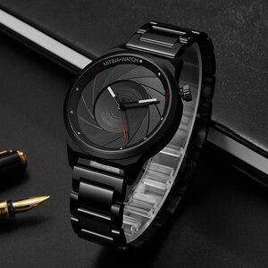 Image 3 - יוקרה מגניב גברים שחור פלדת שעון גברים אופנה למעלה מותג ספורט ייחודי עיצוב קוורץ יד שעונים זכר שעון Relogio Masculino