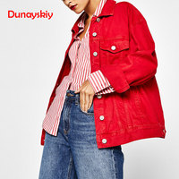 Plus Size Female Jackets Fashion Denim Coat Autumn Spring Black Jacket For Women Ropa Chaqueta Outerwear Coat Red Black