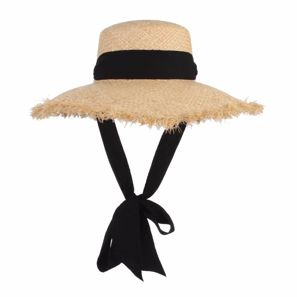 Handmade Weave Raffia Sun Hats For Women Black Ribbon Lace Up Large Brim Straw Hat Outdoor Beach Summer Caps Chapeu Feminino