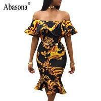 Abasona Vintage Printed Dresses Women Off Shoulder Ruffles Dress Evening Party Ladies Bodycon Mermaid Dress Female