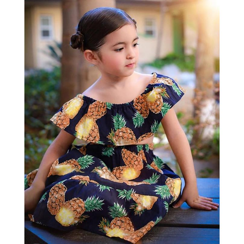 New Design Cute 2Pcs Kids Baby Girls Pineapple Print Off Shoulder Tops+Skirt Set Outfit Clothes Comfortable Touch High Quality