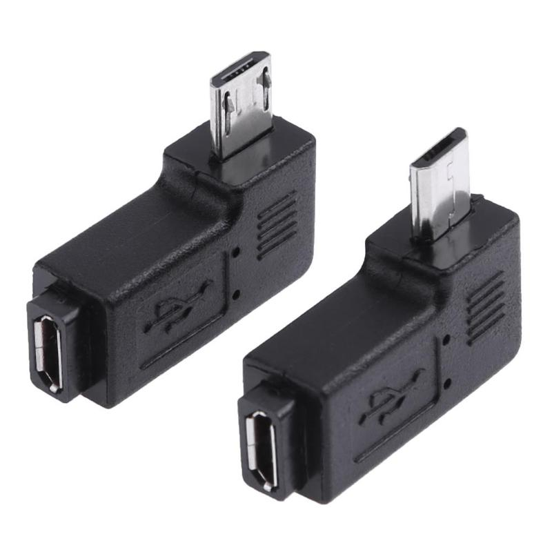 2Pcs 90 Degree Micro USB Female To Micro USB Male Adapter Connector Left + Right Version For PC Computer Phones