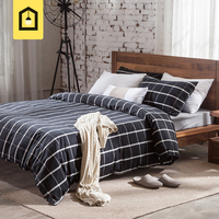 Brief Black And White Plaid morden 100%cotton bedding sets home textile 4pcs sheet/fitted sheet duvet quilt cover pillow cases
