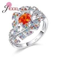 JEXXI 925 Sterling Silver Leaf Shape Crystal Design Sense Orange Color CZ Zircon Ring Women Fashion